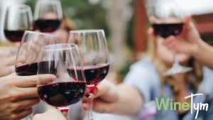 WineTym, Friends holding wine glasses, cheers with red wine, friends