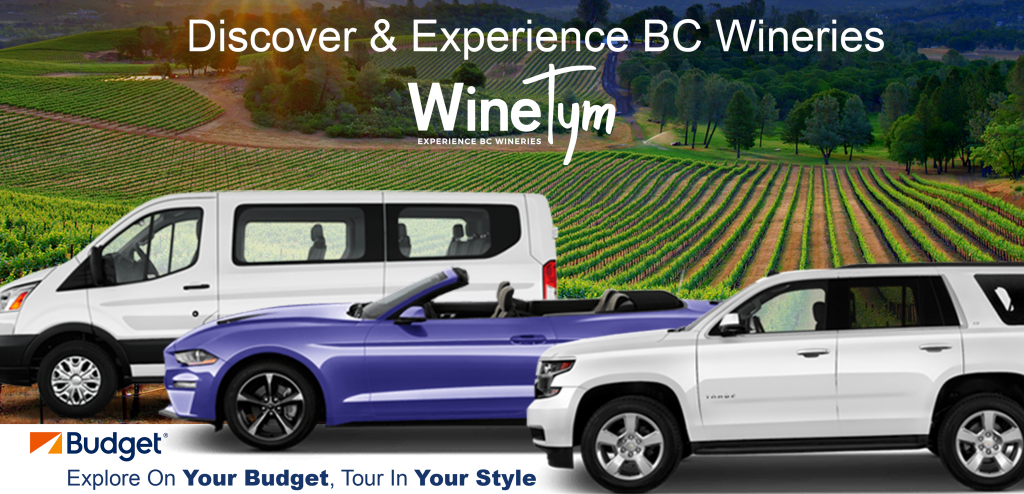 WineTym Logo, Budget Car and Truck Rental Logo, Vineyard, rental van, convertible car rental, white SUV rental , BC Winery
